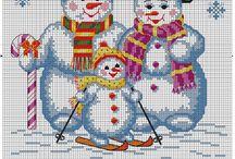 sneeuwfamilie voor klokkenkleed 2x