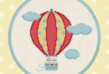 ucan balon kanavice / hot air ballooon cross stitch