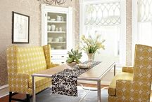 Dining Room Ideas / Great ideas for styling a dining room space, including storage options like buffets and plate ledges, etc., as well as cool tables, benches, chairs, and paint treatments.