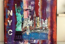 fire and color of New York City /  Titre : fire and color of New York City Toile en coton  50 / 60 cm  Matière : acrylique et relief pâte de structure  Coloris acrylique divers   https://www.facebook.com/toiles.jeaninelucci toilesjeaninelucci.ultra-book.com/ https://fr.pinterest.com/toilesjeaninelu/