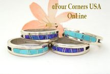 Inlay Band Rings / Navajo Inlay Band Rings at Four Corners USA Online Native American Jewelry / by Four Corners USA OnLine