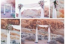 Concepts: The Glamorous Wilderness / Bright and bold colors of pink, fuchsia, and burgundy  against the backdrop of a muted desert palette and creamy whites. Nicole & Kris
