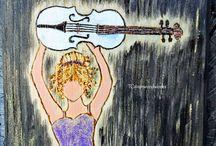 Music ART Gifts / Handmade musical art on wood