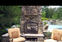 dual outdoor fireplace