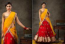 half sarees and leghanga