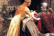 Edmund Leighton / an English painter of historical genre scenes, specializing in Regency and medieval subjects (1852 – 1922)