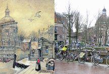 Anton Pieck - toen en nu... / Door Anton Pieck getekende stads- en dorpsgezichten aangevuld met een foto van de huidige situatie.