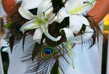 flowers / thinking about flower bouquets... my thought is pure white flowers with some great feather sprays that match the hair clip. The site is from Ursula, is quite reasonably priced, reliable, and what she used to do her wedding arrangements.