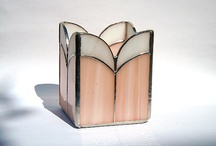 Stained glass candle holders, lampshades and boxes