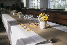 Yellow and blue wedding / Our polka dot, burlap, yellow and navy blue wedding