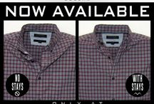 Side-by-Side Comparison / Before and After photos of dress shirts.  With and Without our patented Placket Stays.