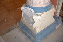 Schaw House, Bearsden, Dunbartonshire - Plaster Restoration Case Study / The client wanted to restore and maintain the original features of this building while converting it into flats. The Reproduction Plaster team supplied and fitted a range of our own fibrous plaster mouldings throughout the building.  We also carried out plaster restoration on the original entrance columns, which had been badly damaged through years of wear and tear.