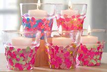 enfeitar os copos de velas com confetes