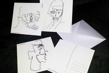 POSTCARDS / Hand drawn postcards showing different moods and feelings. Size 14x14cm