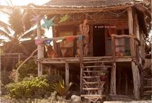 Beach shacks.