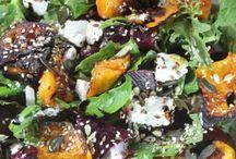 Salads, veggies and fruit