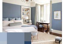 dormitorio matrimonio azul y blanco