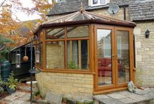 Broadwell 2013 / Replacement conservatory with a golden oak upvc with a glass roof