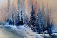 Winter water paintings