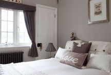 Bedroom / curtains curtain poll  likes silks lilac, mauve colours  wall is in elephants breath
