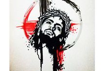 "A Jesus Tattoo concept / Jesus In ""Trash Polka"" design."