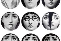 """Artist: Fornasetti  / Piero Fornasetti was an Italian painter, sculptor, interior decorator and engraver. He lived most of life in Milan, attending the Brera Art Academy from 1930-32 when he was expelled for insubordination. During World War II, he went into exile in Switzerland from 1943-46. He created more than 11,000 items, many featuring the face of a woman, operatic soprano Lina Cavalieri, as a motif. """"I do not believe in eras or times. I do not. I refuse to establish the value of things based on time.""""     / by Jean Elizabeth Ward"""