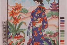 Beautiful Geisha / Needlepoint canvas of all size from Collection d'Art, Gobelin and Diamant
