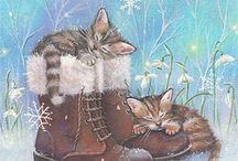 зима валшебная и кошки