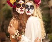 Mexican Sugar Skull / Lexi's Mexican themed birthday party. Sugar skull make up ideas and floral headdress ideas for custom headpiece.