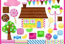 Sweets / candy, sweets, cakes, cupcakes clipart, digital graphics by Sanqunetti Design and other inspirations