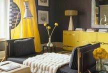YELLOW + GREY / A bold, lemony yellow is perfectly balanced with a cool grey. Wake up your home with this color combination. / by Overstock.com