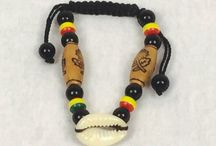 The Drawstring African bracelet! It is colourful, and it has beads, wood and cowries.