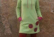 Fleecové šatuniky / šití, ruční tvorba, ruční práce, mikina, tunika, aplikace, barvy