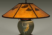 Pottery Lamps  / These lamps are all handmade in the USA.  The pottery is hand thrown by Ephraim Faience Pottery out of Lake Mills, WI.  With this limited edition pottery, William Morris Studio assembles a handcrafted mica shade with real leaves and creates one of the best pottery lamps on the market.   These pottery lamps are a true treasure to any handcrafted home.
