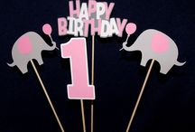 Pink and grey birthday decor