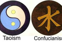 *Taoism/Confucianism (Yin Yang) / Since earliest times, Chinese thought has been characterized by an awareness of man's close relationship with nature and the universe, a cyclical view of time and the universe, veneration or worship of ancestors, the idea of Heaven, and belief in the divinity of the sovereign.  / by Melody Laudermilk-Stiak