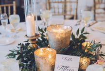 Greenery centerpieces for round tables