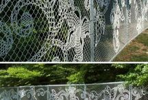 Fence Art / Ideas to brighten up a boring security fence.