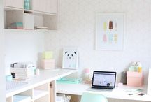 Home Studio Office Ideas / I'm moving house so I really want to create a white clean space with light pastel colours!