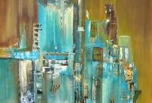Abstrakt maleri - hus