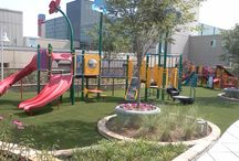 Playground Safety Surfacing / Artificial turf playground surfacing allows for a larger use of play after rains with no mess!