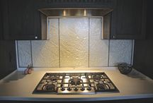 Custom Backsplash made By Prairie Glass Studio / Kymm, owner & artist at Prairie Glass Studio, was asked to design and make this stunning backsplash. It turned out far better than we could have ever dreamed!