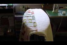 Spray basting on an ironing board