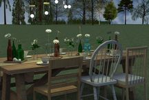 Decoration: table with different chairs
