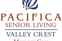 Valley Crest Memory Care / Situated in the vibrant community of Apple Valley, California, Pacifica Senior Living Valley Crest offers full-service memory care programs, providing a warm, inviting and familiar environment for residents with Alzheimer's disease and other forms of dementia. Our community focuses on programs that help individuals with memory loss to thrive while managing the issues of dementia.