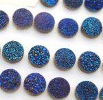 Natural Blue Color Coated Druzy 10mm Round Loose Gemstone