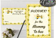 Baby Shower Games Yellow Bees, Invitations, Decorations and more... / Hi, thank you for visiting this beautiful baby shower board with yellow bee theme. Here you can find a lot of baby shower decorations and activities with over 40 listings in this theme.