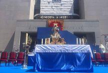 Montaje de escenario. Virgen Santa María de Butarque. / Montaje de escenario en Leganés para la celebración de la festividad de la Virgen Santa María de Butarque.