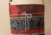 red messenger bag wih denim ,taffeta and lace