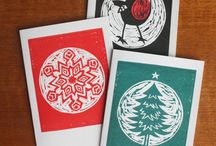 Linocut Xmas cards